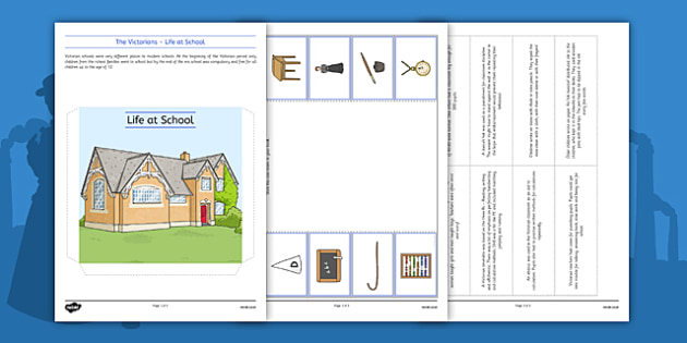 The Victorians Life at School Lapbook - Cane, Dunce, Victorian School, history, research, ks1, ks2, victorian