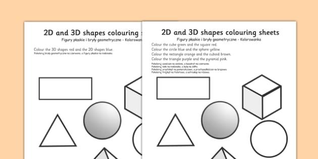 2D and 3D Shapes Colouring Sheets Polish Translation - polish, 3D, 2D, 3D shapes, shapes names, colouring, fine motor skills, poster, worksheet, vines, shape recognition, shapes