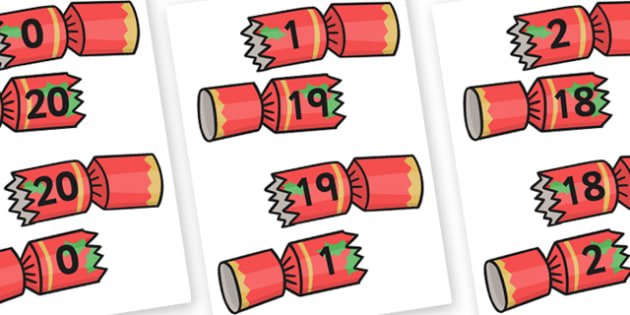Christmas Themed Number Bonds to 20 on Crackers - christmas, bond