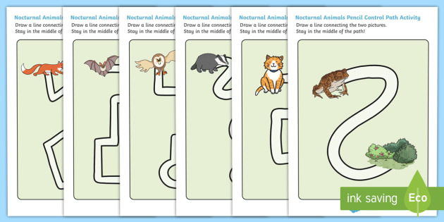 Nocturnal Animals Pencil Control Path Worksheets - nocturnal, animals, pencil control path, worksheets