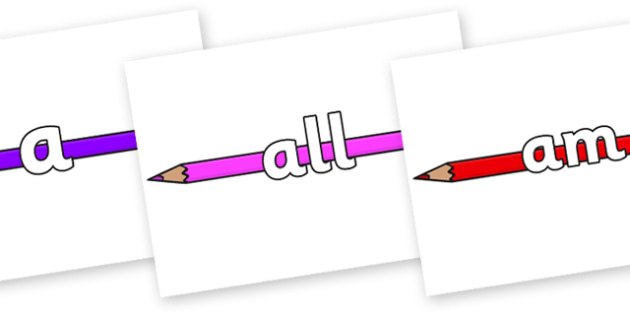 Foundation Stage 2 Keywords on Pencil Crayon - FS2, CLL, keywords, Communication language and literacy,  Display, Key words, high frequency words, foundation stage literacy, DfES Letters and Sounds, Letters and Sounds, spelling