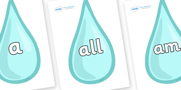 Foundation Stage 2 Keywords on Water Droplets - FS2, CLL, keywords, Communication language and literacy,  Display, Key words, high frequency words, foundation stage literacy, DfES Letters and Sounds, Letters and Sounds, spelling