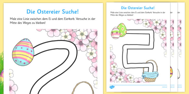 Easter Hunt Pencil Control Path Worksheets German - german, pencil control, easter, hunt