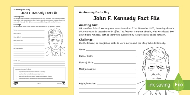 John F. Kennedy Significant Individual Writing Frames