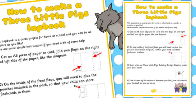Three Little Pigs Lapbook Instructions Sheet - lapbooks, pigs