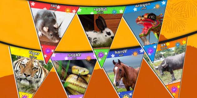 Chinese New Year Animal Photo Bunting Polish Translation - polish, chinese new year, animals, photo, bunting, display