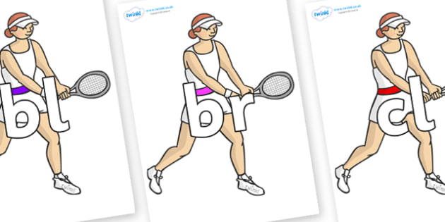 Initial Letter Blends on Tennis Players - Initial Letters, initial letter, letter blend, letter blends, consonant, consonants, digraph, trigraph, literacy, alphabet, letters, foundation stage literacy