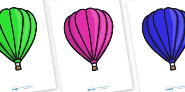 Editable Display Hot Air Balloons (Plain) - Hot Air balloon, balloons, editable, display balloon, A4