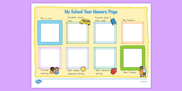 School Year Memory Write Up - usa, america, writing template, school memories