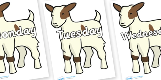 Days of the Week on Baby Goats - Days of the Week, Weeks poster, week, display, poster, frieze, Days, Day, Monday, Tuesday, Wednesday, Thursday, Friday, Saturday, Sunday