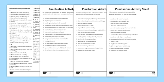 Complete The Sentence Punctuation Activity Sheet writing frame, filling in, writing activity
