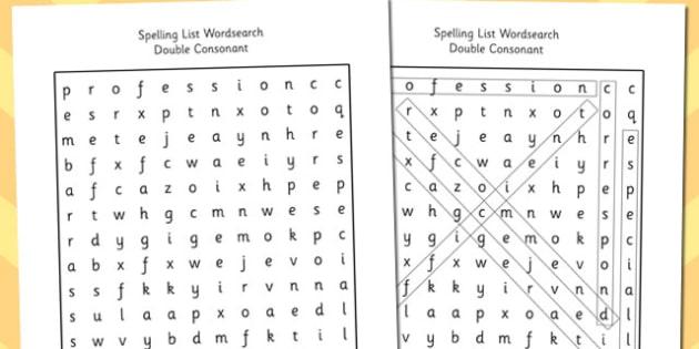 Year 5-6 Spelling List Wordsearch Double Consonant - spelling