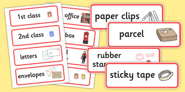 Post Office Word Cards - Word cards, Word Card, flashcard, flashcards, post office, role play, letters, stamps, stamp, mail, post, postman, delivery, passport, car tax, mail bag, envelope