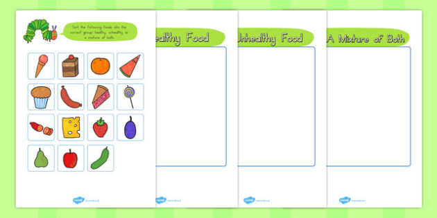 Healthy Eating Sorting Game to Support Teaching on The Very Hungry Caterpillar - australia