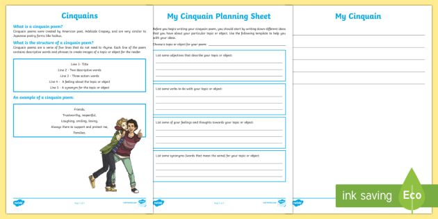 Cinquain Poem Writing Template-Australia - Literacy, Interpreting, analysing, evaluating. ACELY1678, ACELY1690, ACELY1701, ACELY1711,  english,