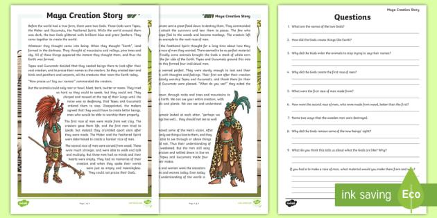 Maya Civilization Creation Story Comprehension - ancient maya, mayan