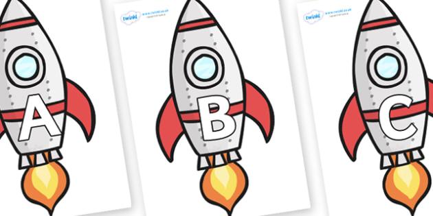 A-Z Alphabet on Rockets (Plain) - A-Z, A4, display, Alphabet frieze, Display letters, Letter posters, A-Z letters, Alphabet flashcards