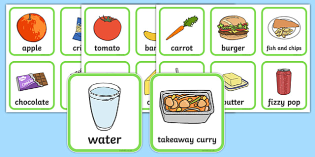 Healthy And Unhealthy Sorting Activity - food, sorting card, flashcards, sort, healthy, unhealthy, activity, cards, word card, flashcards, writing aid, pizza, apple, chocolate, fruit, crisps