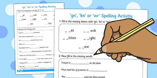 kn or wr Spelling Activity - spelling, activity, gn, kn, wr
