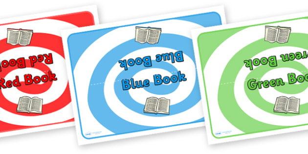 Editable Class Group Signs (Colour Books) - Book, books, group labels, group table signs, table sign, teaching groups, class group, class groups, table label, red, yellow, brown, black, grey, orange, blue, pink, purple