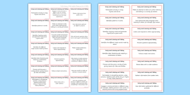 CfE Early Level Listening and Talking Benchmark Assessment Stickers-Scottish