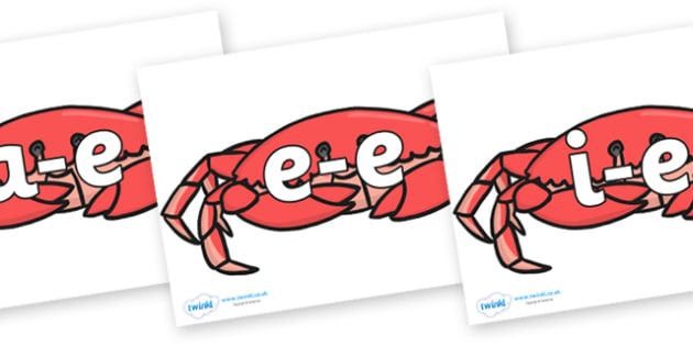 Modifying E Letters on Crabs - Modifying E, letters, modify, Phase 5, Phase five, alternative spellings for phonemes, DfES letters and Sounds
