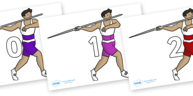 Numbers 0-31 on Javelin - 0-31, foundation stage numeracy, Number recognition, Number flashcards, counting, number frieze, Display numbers, number posters