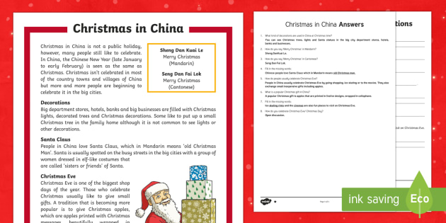 Christmas Around the World China Differentiated Reading Comprehension Activity