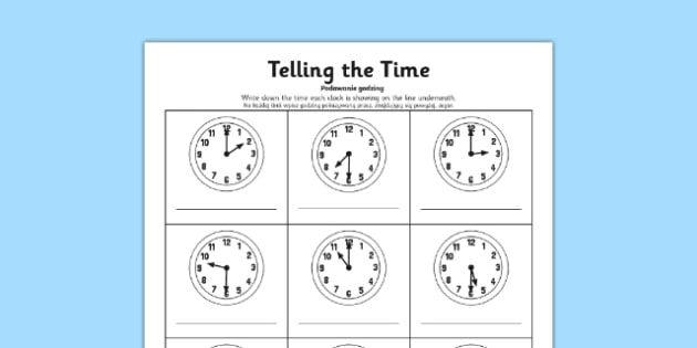 O'clock and Half Past Times Activity Sheet Polish Translation - polish, o'clock, half past, times, activity, worksheet