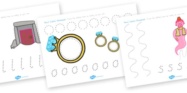 Aladdin Pencil Control Worksheets - worksheet, motor skills