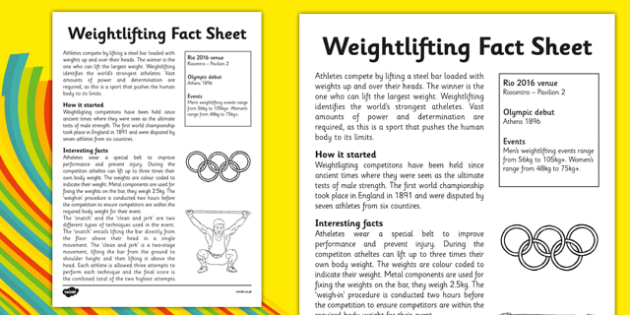 The Olympics Weightlifting Fact Sheet - olympics, olympic game, games, weight, lifting, strong, competition, summer, rio, 2016, brazil, fact, sheet