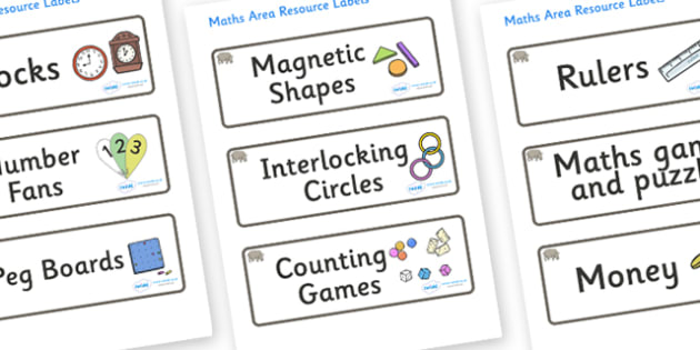 Rhino Themed Editable Maths Area Resource Labels - Themed maths resource labels, maths area resources, Label template, Resource Label, Name Labels, Editable Labels, Drawer Labels, KS1 Labels, Foundation Labels, Foundation Stage Labels, Teaching Label