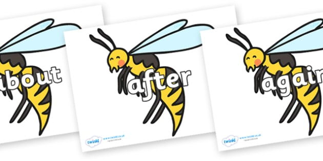 KS1 Keywords on Wasps - KS1, CLL, Communication language and literacy, Display, Key words, high frequency words, foundation stage literacy, DfES Letters and Sounds, Letters and Sounds, spelling