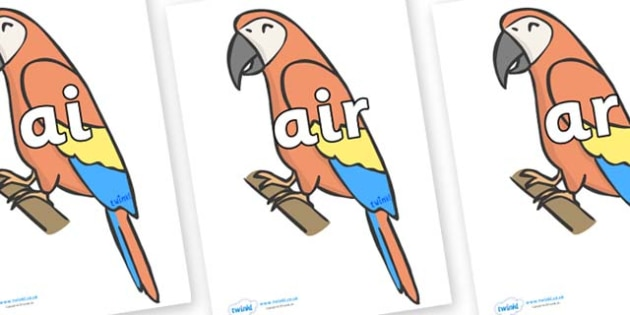 Phase 3 Phonemes on Parrots - Phonemes, phoneme, Phase 3, Phase three, Foundation, Literacy, Letters and Sounds, DfES, display