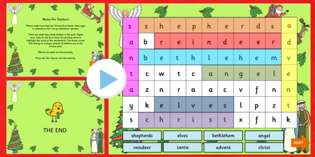 Christmas Interactive Wordsearch PowerPoint - christmas, christmas wordsearch, interactive wordsearch, wordsearch, christmas games, christmas activities