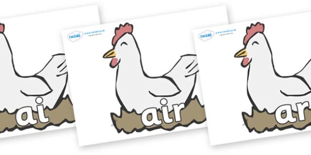 Phase 3 Phonemes on Hens - Phonemes, phoneme, Phase 3, Phase three, Foundation, Literacy, Letters and Sounds, DfES, display