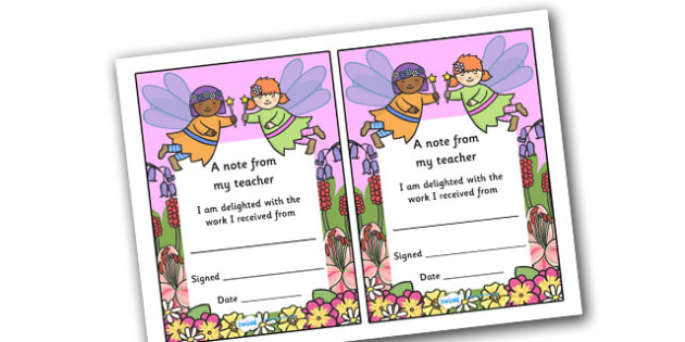 Note From Teacher Delighted With Work (Fairy Themed) - note from teacher delighted with work, delighted with work, note from teacher, notes, praise, comment, note, teacher, teacher's, parents, delighted, work, fairy themed, fairy, themed