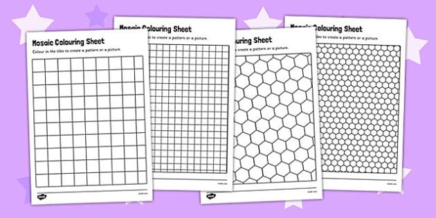 Mosaic Colouring Sheets - mosaic worksheets, deign a mosaic, mosaic template, mosaic shapes templates, mosaic grid templates, ks2 history, art and design