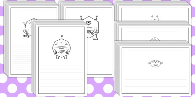 2D Shape Aliens Writing Frames - 2d shape, aliens, writing frames