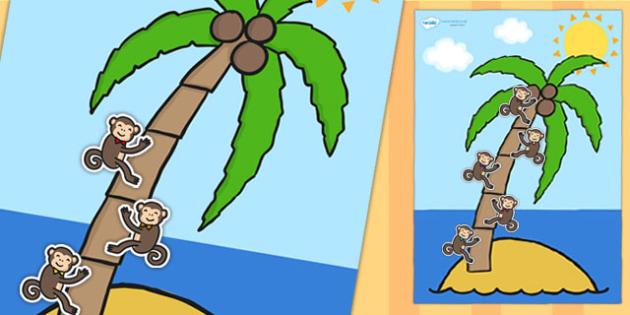 A4 Palm Tree and Monkey 5 Step Reward Chart - 5 step reward chart, reward chart, themed reward chart, palm tree, monkey, rewards, class management, A4