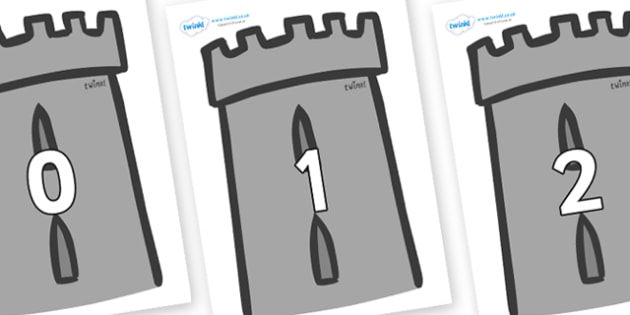Numbers 0-31 on Turrets - 0-31, foundation stage numeracy, Number recognition, Number flashcards, counting, number frieze, Display numbers, number posters