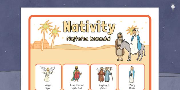 Nativity Vocabulary Poster Romanian Translation - romanian, nativity, vocabulary, poster, display