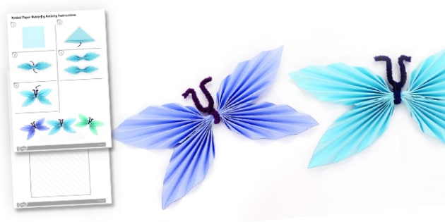 Folded Paper Butterfly Activity Instructions - origami, butterfly