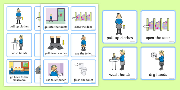 Visual Timetable (Using The Toilet - Girls) - how to use the toilet, wash hands, flush toilet, Visual Timetable, SEN, Daily Timetable, School Day, Daily Activities, girls, flush the toilet, toilet, toilets