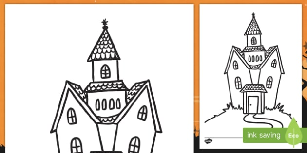 Halloween Haunted House Colouring Page