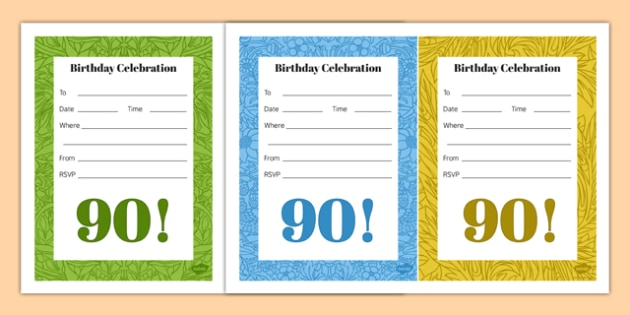 90th Birthday Party Invitations - 90th birthday party, 90th birthday, birthday party, invitations