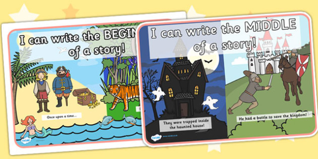 Beginning Middle and End Story Posters - beginning, middle, end, story, posters, story posters, stories, display posters, story ordering, english, literacy