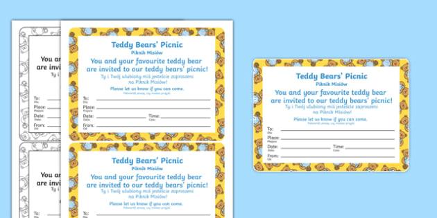 Teddy Bear's Picnic Invitation Polish Translation - polish, EYFS, Early Years, writing, party, bears, We're Going on a Bear Hunt, Michael Rosen, Brown Bear, teddy bear