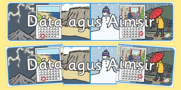 Date and Weather Display Banner Gaeilge - gaeilge, date, weather, days, weeks, aimsir