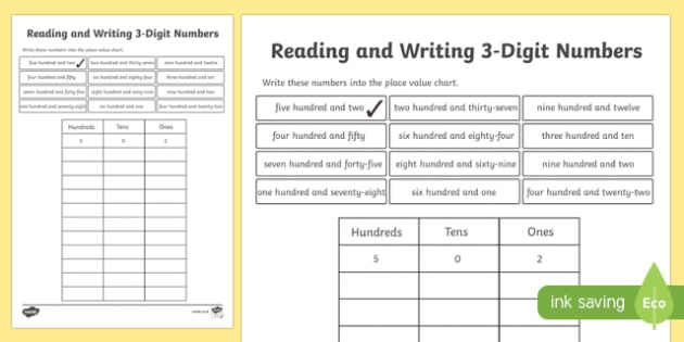 Place Value Reading and Writing 3-Digit Numbers Activity Sheet-Scottish, worksheet